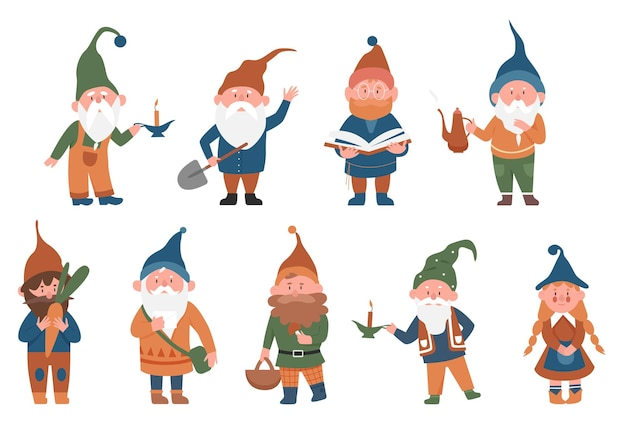 Cute fairytale gnomes vector illustration set. cartoon funny gnome or dwarf male female fairy character standing in various poses, holding mushroom, working in garden, reading book isolated