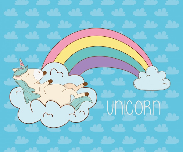 Cute fairytale unicorn in clouds with rainbow