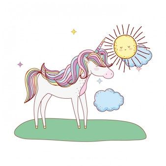 Cute fairytale unicorn in the landscape