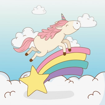 Cute fairytale unicorn in rainbow with star