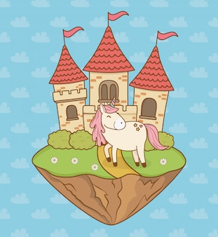 Cute fairytale unicorn with castle in the landscape