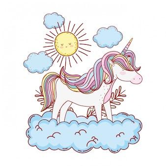 Милый сказочный единорог с облаками и солнцем