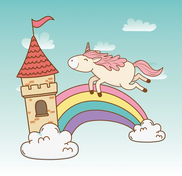 Cute fairytale unicorn with rainbow in the clouds