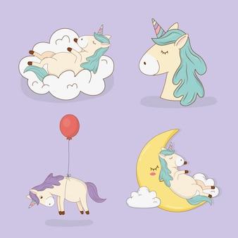 Cute fairytale unicorns characters