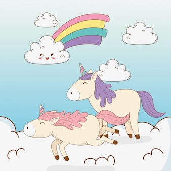 Cute fairytale unicorns in clouds with rainbow