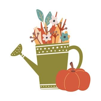 Симпатичные осень клипарт красочные лейка и тыква