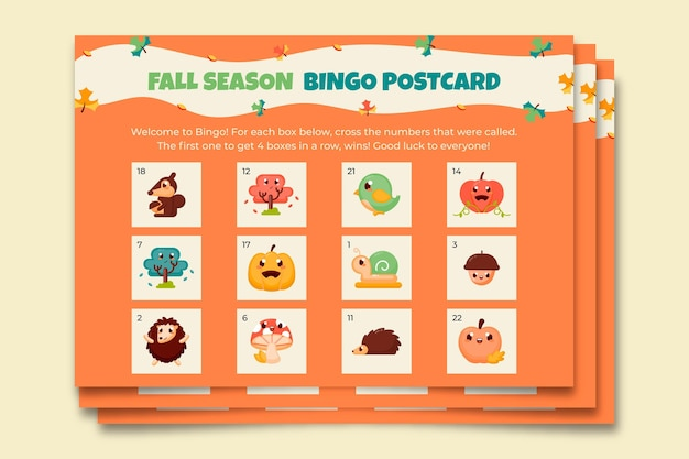 Cute fall season bingo postcard