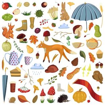귀여운 가을 세트입니다. 가 시즌의 벡터 일러스트입니다. 흰색의 만화 컬러 클립 아트 컬렉션입니다. 옷, 동물, 버섯, 나뭇잎의 그림. 장식, 스티커, 디자인, 카드, 지문용.