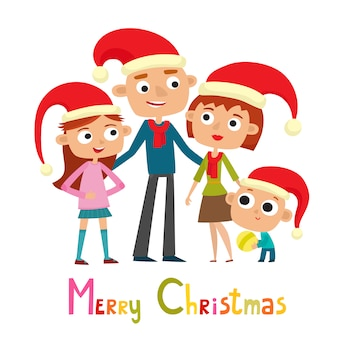 Cute family in cartoon style on white