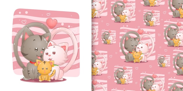 The cute family cats full of love with their daughter in seamless the pink background of illustration