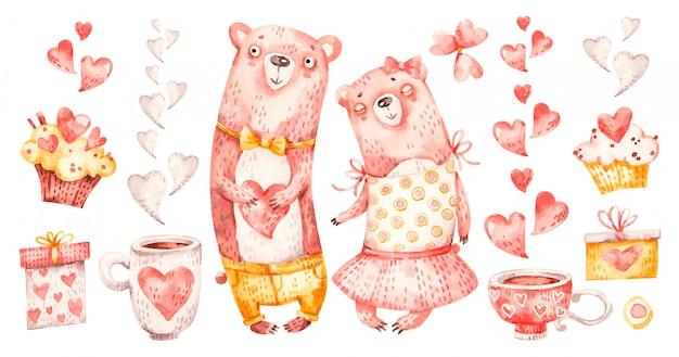 Милая семейная пара обнимает медведей. акварель питомника мультфильма люблю романтичных животных медведя, сердечки, подарки. очаровательная семейная любовь