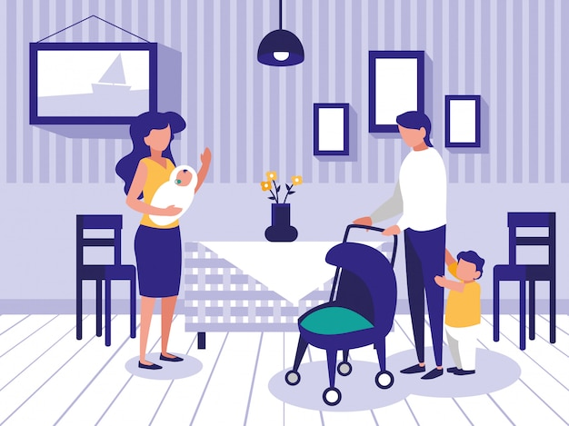 Cute family in dining room