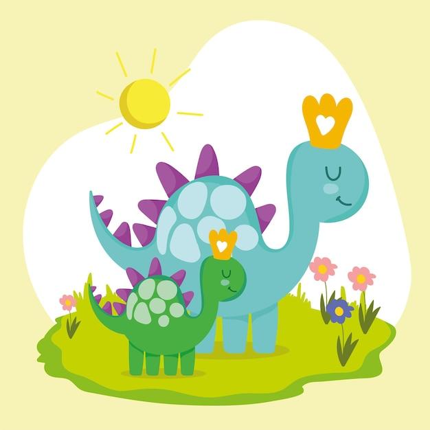Cute family dinosaur