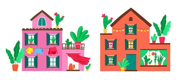 귀여운 가족 주택. 아름다운 자연과 꽃 식물이있는 여름 별장. 국가 부동산. 평면 스타일에 화려한 만화