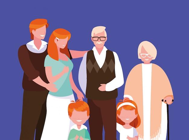 Cute family members avatar character
