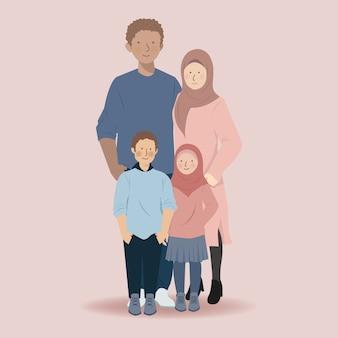 一緒に立っている父、母、息子、娘のかわいい家族のイスラム教徒の漫画のキャラクター