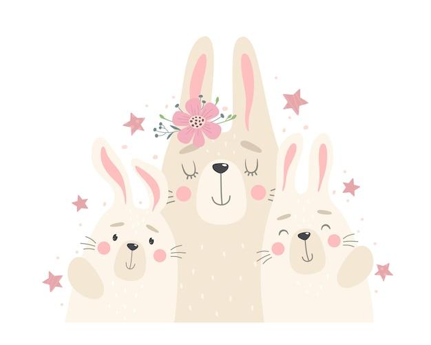 토끼, 엄마, 토끼의 귀여운 가족. 만화 플랫 스타일의 그림입니다.