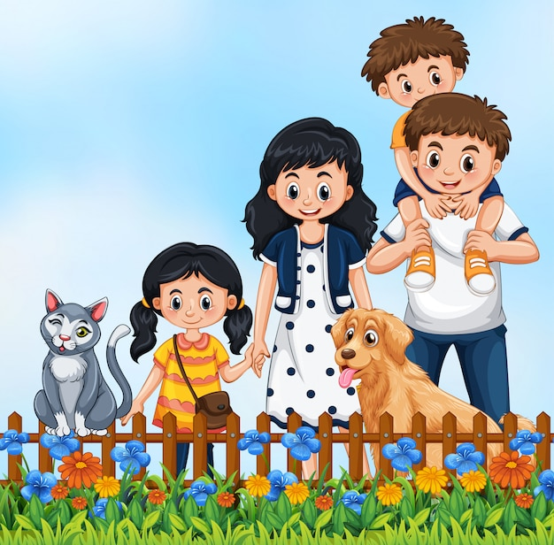 Cute family outdoor scene