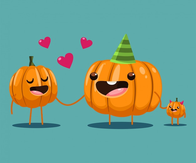 Cute family pumpkin character. cartoon halloween illustration isolated.