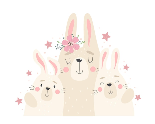 Cute family of rabbits, mom and rabbits.   illustration in cartoon flat style.