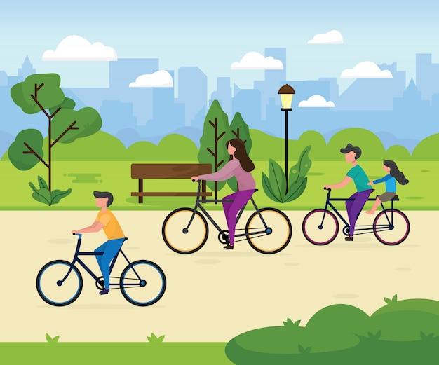 自転車に乗ってかわいい家族。ママ、パパ、公園で自転車に乗っている子供たち。両親と子供が一緒にサイクリングします。スポーツとレジャーの野外活動。フラットな漫画のスタイルのカラフルなイラスト。