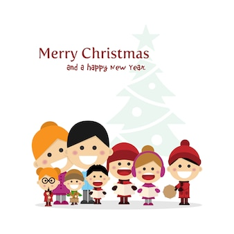 Christmas nightでキャロルを歌うかわいい家族