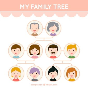 Cute family tree with smiling members
