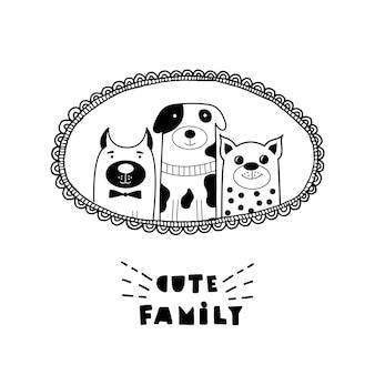 Смешная открытка с милыми кошачьими лицами и надписью cute family!