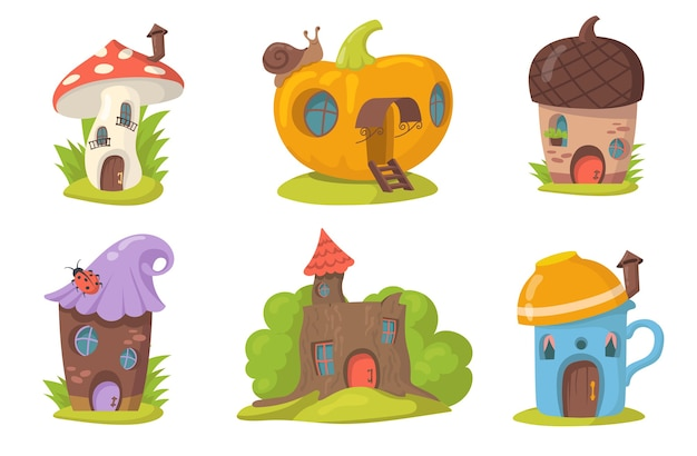 Cute fantasy houses flat set