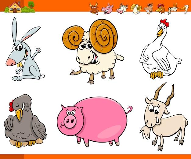 Cute farm animal cartoon characters set