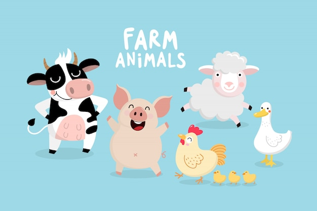 Cute farm animal vector set
