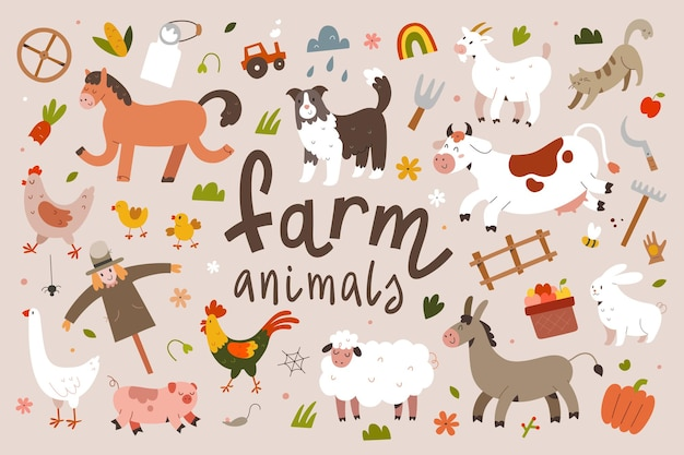 Cute farm animals illustration