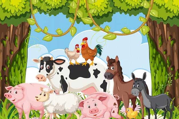 Cute farm animals in jungle scene
