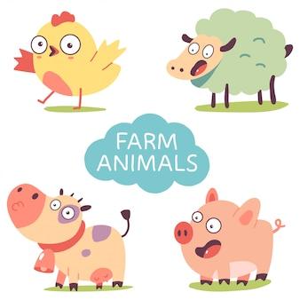 Cute farm animals set