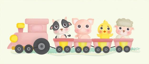 Cute farm animals stainging on a train.