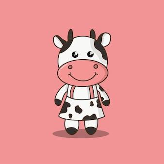 Cute farm cow cartoon vector illustration