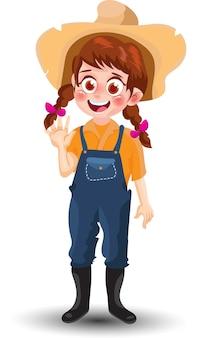 Милая девушка фермы в стоячем положении мультфильм