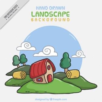 Cute farm landscape