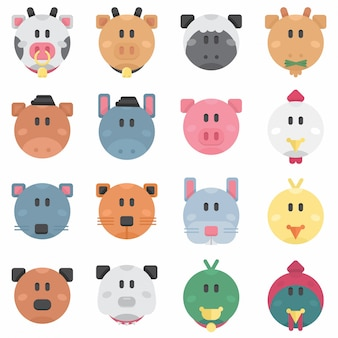 Cute farm pets circle flat avatar