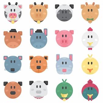 Cute farm pets circle плоский аватар