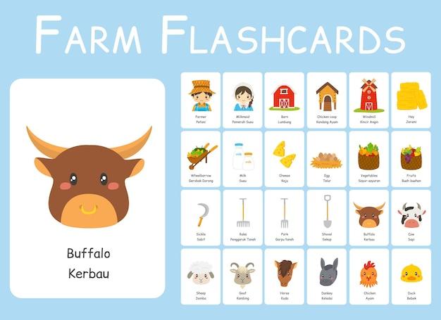 귀여운 농부와 우유 메이드 이중 언어 플래시 카드 벡터 세트