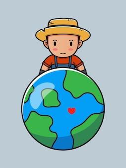 Милый фермер и планета земля