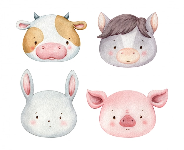 Cute farmer animals painted in watercolor. pretty colorful pet heads