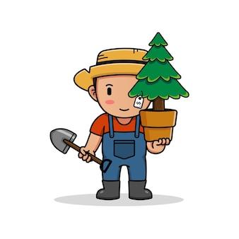 松の木とシャベルを運ぶかわいい農家