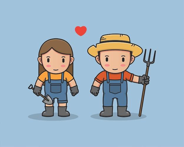 恋に落ちるかわいい農家のカップル