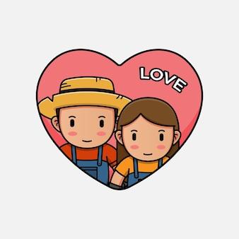 발렌타인 데이에 귀여운 농부 커플
