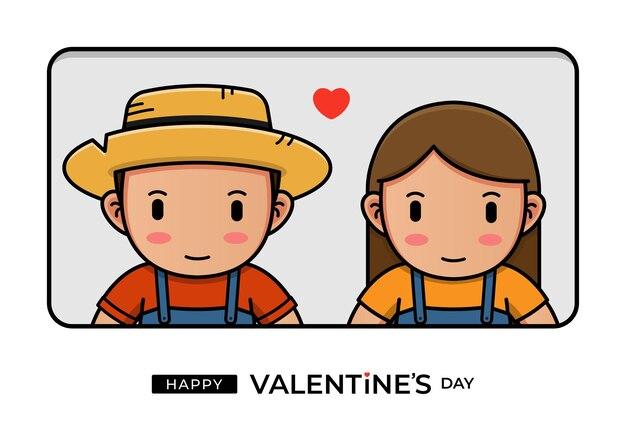 幸せなバレンタインデーの挨拶とかわいい農家のカップル
