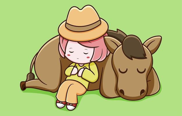 眠っている馬とかわいい農家の女の子のデザイン