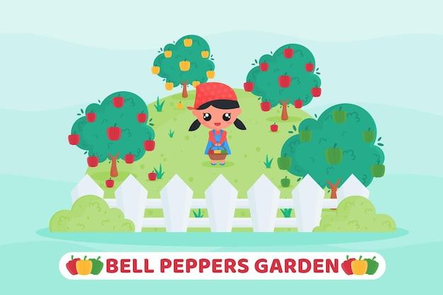 フルーツバスケットを持ってピーマンの庭でピーマンを収穫するかわいい農家