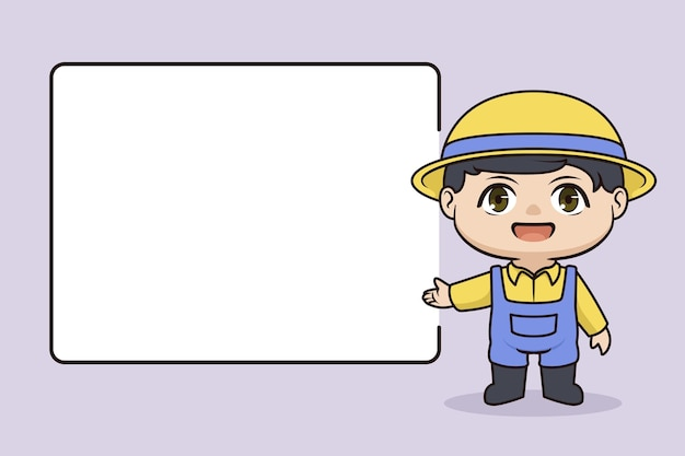 Cute farmer illustration with blank space information